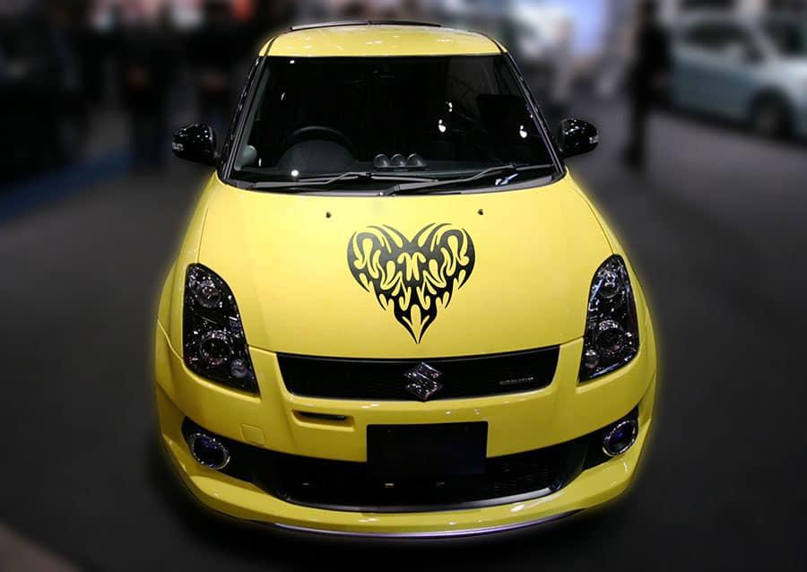 Pump my Heart Black Bonnet Car Sticker