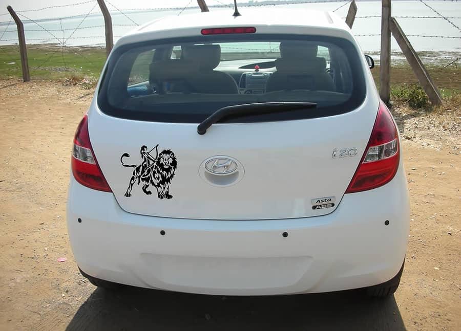 Lucky Leo Black Dicky Car Sticker
