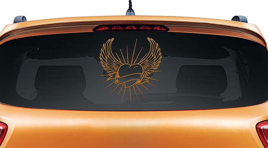 Angel Heart Copper Rear Car Sticker