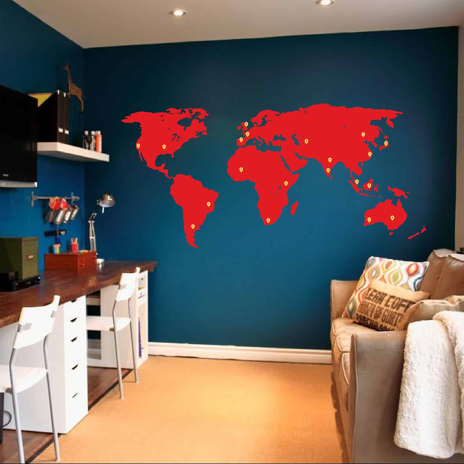 World Map Silhouette Study room decal