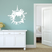 World Travel Silhouette Universal room decal