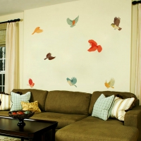Colourful Fabric Birds Living room decal